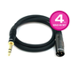 3ft Premier Series XLR Male to 1/4inch TRS Male 16AWG Cable (Gold Plated), 4 Pack