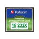 Verbatim 16GB 66X Premium Compact Flash Memory Card - TAA Compliant - 1 Card/1 Pack - 233x Memory Speed