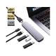 PureFix 6 in 2 Premium Dual HDMI USB C Hub Adapter for MacBook Pro 2017 2018 2019 MacBook Air 2018 2019 Ultra Silm (Space Gray)
