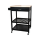 "Multi-Purpose Cabinet Rolling Kitchen Island Table Cart with Wheels - Black 25.6"" x 20.4"" x 36.2"""