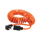 Coiled Power Tool Extension Cord, 16AWG, 13A, SJT, Orange, Expands from 3ft to 10ft