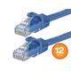 Monoprice FLEXboot Cat6 Ethernet Patch Cable - Snagless RJ45, 550MHz, UTP, Pure Bare Copper Wire, 24AWG, 0.5ft, Blue, 12-Pack