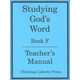 Studying God's Word Book F Teacher's Manual