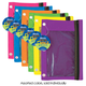 Pencil Pouch 3-Ring with Mesh Window  (Bright assorted colors)