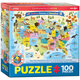 Illustrated Map of the United States of America Puzzle - 100 pieces