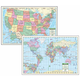 World / U.S. Rolled Map Pack - Laminated (40� x 28�)