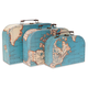 World Map - Set of 3 Suitcases
