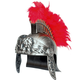 Gladiator Lion Helmet Red Plume Silver