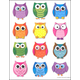 Colorful Owls Shape Stickers (72 Count)