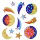Prismatic Sun, Moon & Stars Stickers (Classpack)