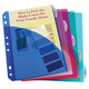 Mini Binder 5-Tab Poly Index Dividers with Pockets (Assorted colors) 5 1/2