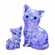 3D Crystal Puzzle - Cat & Kitten (purple)