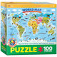 Illustrated Map of the World Puzzle - 100 pieces