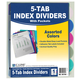 5-Tab Poly Index Dividers with Pockets - set of 5
