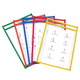 Reusable Dry Erase Pockets Assorted Neon Colors - 6