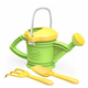 Green Watering Can with Shovel and Rake