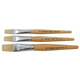 Short Handle Flat Bristle Brushes Set of 3