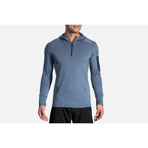 Brooks Mens Notch Thermal Running Hoodie Blue Sports Half Zip Warm Breathable