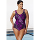 Chlorine Resistant Berry Palm V-Neck Swimsuit