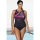 Aquabelle Black Plum High-Neck Swimsuit
