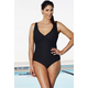 Chlorine Resistant Black Textured Twist-Front Swimsuit