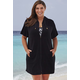 Swim365 Black Terry Zip 26-34 Cover Up
