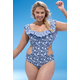 Jessica Simpson Patched Up Ruffle Swimsuit