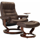 Stressless Opal Large Leather Reclining Chair and Ottoman w/ Swing Table