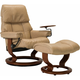 Stressless Ruby Small Leather Reclining Chair and Ottoman w/ Swing Table