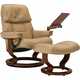 Stressless Ruby Medium Leather Reclining Chair and Ottoman w/ Table