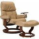 Stressless Ruby Medium Leather Reclining Chair and Ottoman w/ Swing Table