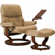 Stressless Ruby Large Leather Reclining Chair and Ottoman w/ Table