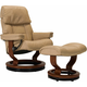 Stressless Ruby Medium Leather Reclining Chair and Ottoman w/ Rings