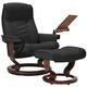 Stressless Senator Medium Leather Reclining Chair and Ottoman w/ Table