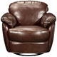 Aldo Leather Swivel Glider Accent Chair