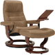 Stressless Opal Medium Leather Reclining Chair and Ottoman w/ Table