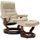Stressless Opal Large Leather Reclining Chair and Ottoman w/ Rings