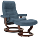 Stressless Opal Medium Leather Reclining Chair And Ottoman