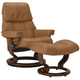 Stressless Ruby Small Leather Reclining Chair and Ottoman