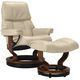 Stressless Ruby Small Leather Reclining Chair and Ottoman w/ Rings