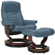 Stressless Senator Medium Leather Reclining Chair And Ottoman W/ Rings