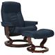 Stressless Senator Medium Leather Reclining Chair and Ottoman