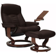 Stressless Senator Large Leather Reclining Chair and Ottoman w/ Table