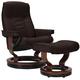 Stressless Senator Medium Leather Reclining Chair And Ottoman W/ Rings