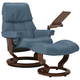 Stressless Ruby Small Leather Reclining Chair and Ottoman w/ Table