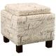 Script Flip-Top Storage Ottoman w/ Pillows
