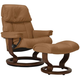 Stressless Ruby Medium Leather Reclining Chair and Ottoman