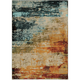 Quinn Blue and Red Area Rug, 5'3 x 7'6