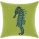 Mina Victory Beaded Seahorse Green Outdoor Throw Pillow
