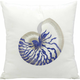 Mina Victory Blue Conch White Outdoor Throw Pillow